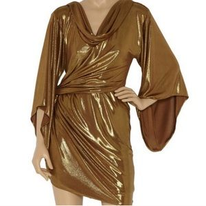 Halston Heritage Gold Lamé Dress